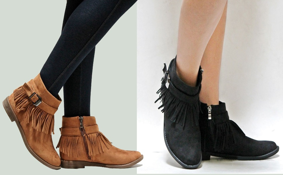 b297e43a8bb8 The fashion ankle high boots features wearable flat low heel, pointed toe,  classy, buckle tassel ankle strappy decoration, side zipper details, ...