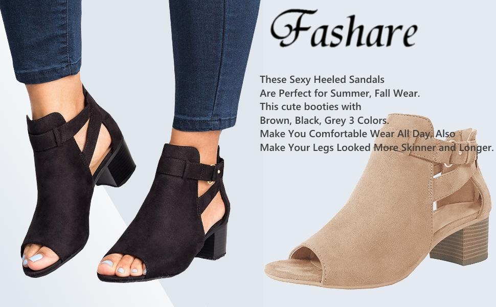 Womens Open Toe Cutout Booties Sandals