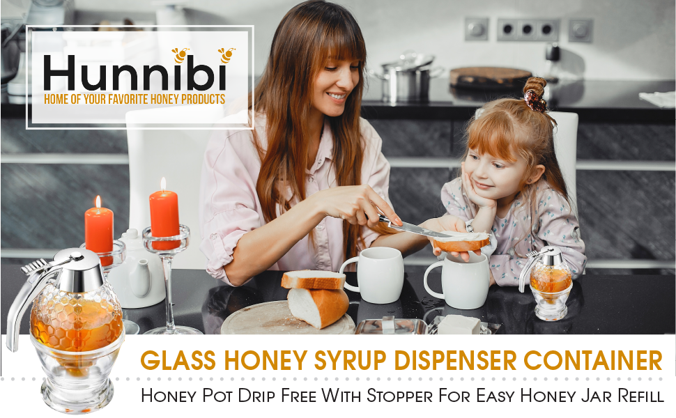 Hunnibi Glass Honey Syrup Dispenser Contrainer, Honey Pot Drip Free With Dipper For Easy Honey Jar