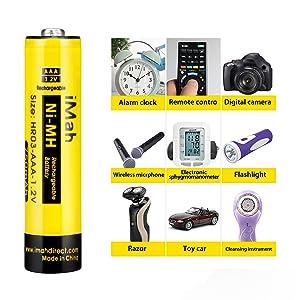 iMah HR03 1.2V 550mAh Ni-MH AAA Rechargeable Batteries