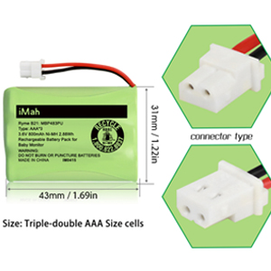 iMah Ryme B21 Battery Compatible with Motorola Baby Monitor MBP33XLPU MBP481PU MBP482PU MBP483PU VTech BT207695 VM312 VM3251 VM3252 VM3261 only fits MBP33S MBP36 MBP36S Newer 800mAh Version 2-Pack