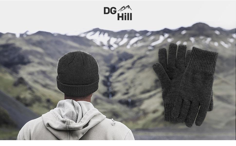 b316309da8a DG Hill Mens Winter Hat And Gloves Set with 3M Thinsulate fleece ...