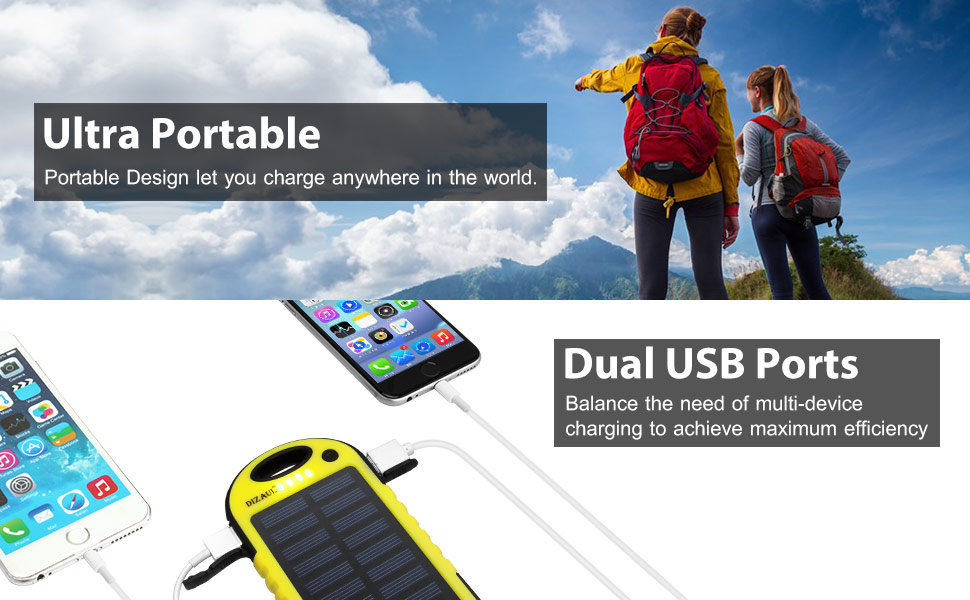 Solar Charger, Dizaul 5000mAh Portable Solar Power Bank