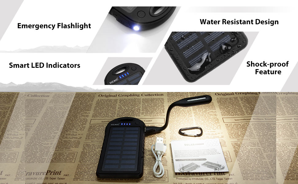Solar Charger,Dizaul 5000mAh Portable Solar Power Bank Waterproof