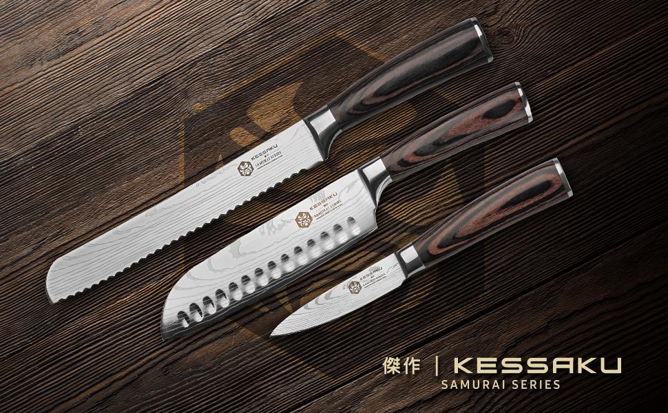 Kessaku Cleaver Butcher Nakiri Knife - Samurai Series - Japanese Etched High Carbon Steel, 7-Inch