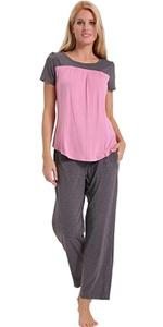 c7e4c46180 ENIDMIL Womens Soft Cotton Pajama Set Short Sleeve Top and Long Pants  Bottom · ENIDMIL Womens Soft Cotton Pajama Set Short Sleeve Top and Long  Pants Bottom ...