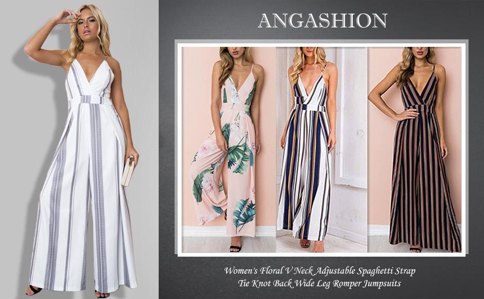b7a4e986fc2 Angashion Women s Floral V Neck Adjustable Spaghetti Strap Tie Knot Back Wide  Leg Romper Jumpsuits