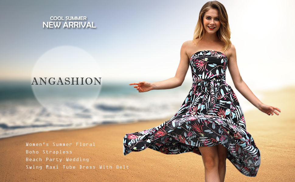 7fdd5a1b77 Angashion Women s Summer Floral Boho Strapless Beach Party Wedding Swing  Maxi Tube Dress With Belt