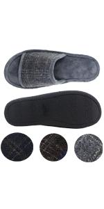men open toe open back home bedroom memory foam slippers