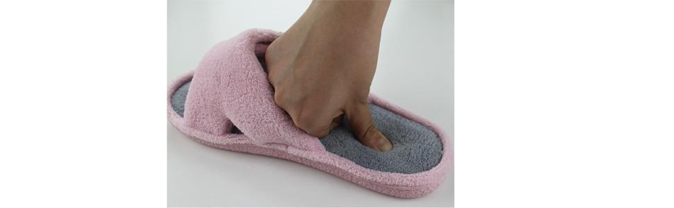 bd75cec5fb90b9 memory foam home indoor slippers for women slip on non skid rubber sole open  toe open