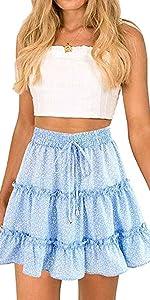 Boho Floral Printed High Waist Ruffle Elastic Cute Casual Mini Skirt