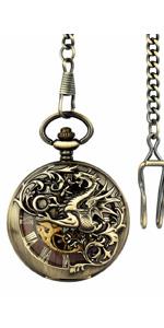 Double hunter Steampunk Skeleton Mechanical Pocket Watch