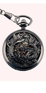 Phoenix amp; Dragon Mechanical Pocket Watch
