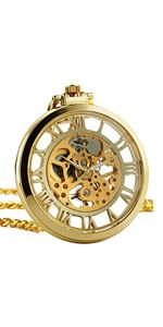 Golden Open Face Pocket Watch