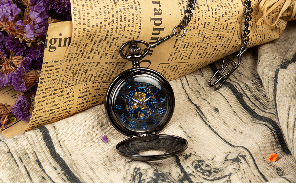 Double Hunter Black Blue Roman Numerals Dial Skeleton Mens Mechanical Pocket Watch