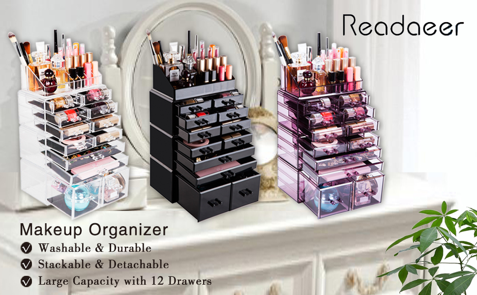 Amazon Com Readaeer Makeup Cosmetic Organizer Storage Drawers Display Boxes Case With 12 Drawers Black Home Kitchen