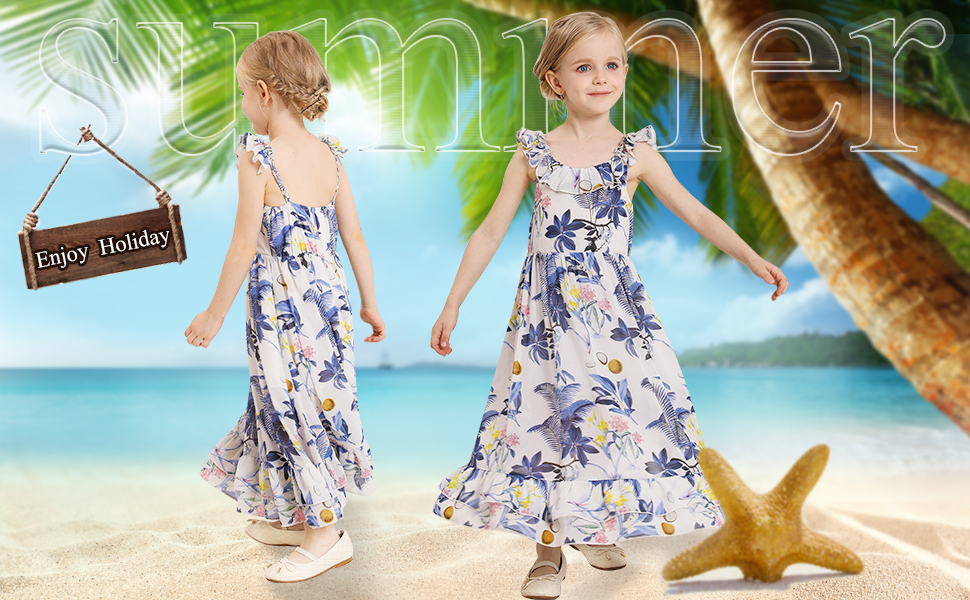 New Girl Long Maxi Summer Chiffon Floral Dress with Spaghetti Straps Age 4-14