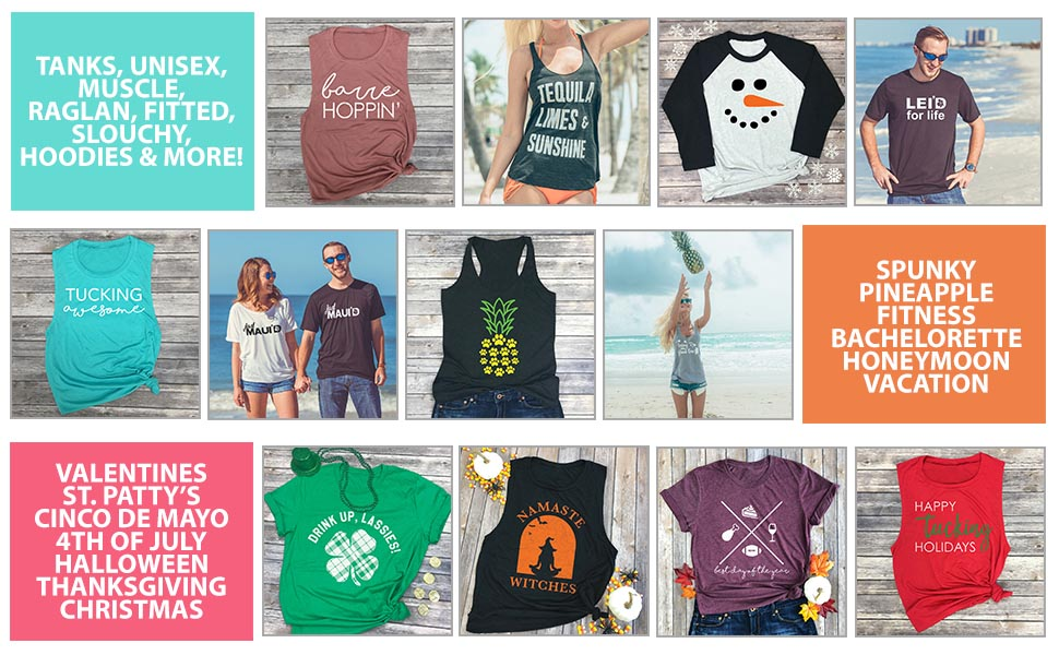 Spunky Pineapple Premium Quality Tshirts made by hand barre fitness vacation holidays