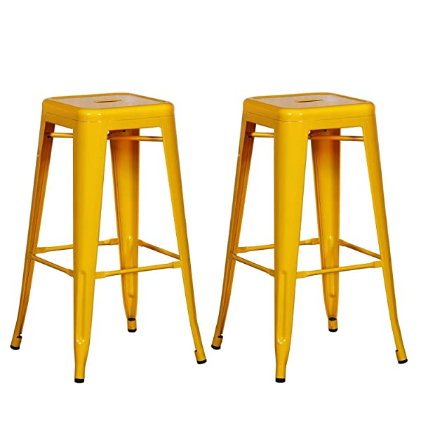 Joveco 30 Inches Yellow Sheet Metal Frame Tolix Style Industrial Chic Chair Backless Bar Stool - Set of 2  sc 1 st  Amazon.com & Amazon.com: Joveco 30 Inches Yellow Sheet Metal Frame Tolix Style ... islam-shia.org
