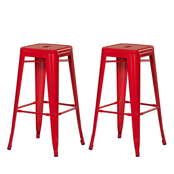 joveco 30 inches red sheet metal frame tolix style industrial chic chair backless bar stool set of 2 - Amazon Bar Stools