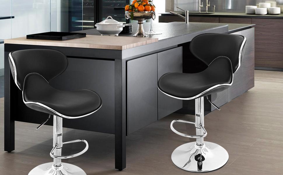 joveco 360 degree swivel adjustable saddleback design bar stool set of 2 black