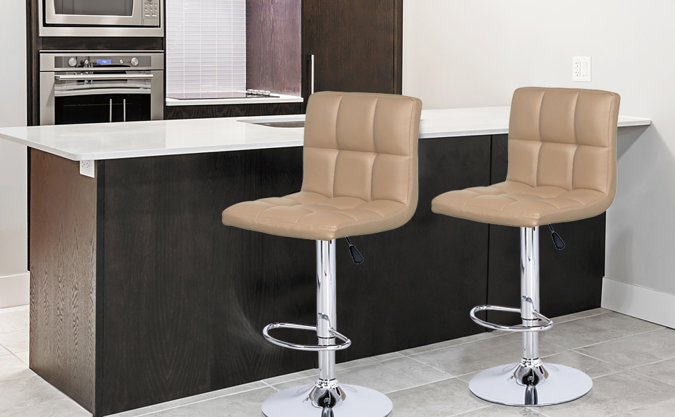 ... Modern Classic Faux Leather Barstool   Set Of 2 (Beige) Is Designed  With Elegance And Style In Mind. Sleek And Smooth Silhouette, Polished Chrome  Base, ...