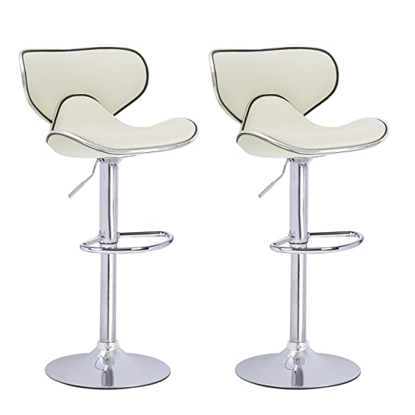 ... Saddleback Design Bar Stool   Set Of 2 (Cream) Are Designed With  Elegance And Style In Mind. Sleek And Smooth Silhouette, Polished Chrome  Base, ...