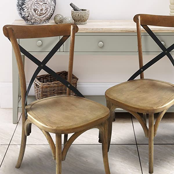 Vintage Wooden Kitchen Chairs: Joveco Ancient Vintage Style X Back Solid