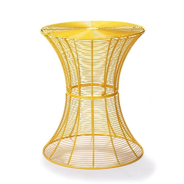 Amazon joveco round top metal wire side table end table suitable for living room bedroom dining room kids room and even patio and balcony this modern piece could be cafe table end table or side table greentooth Image collections