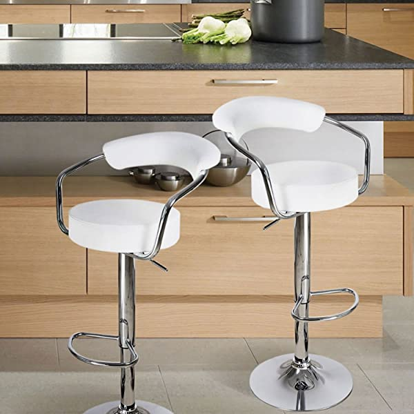 ... Adjustable Round Seat Bar Stool   Set Of 2 (White) Is Designed With  Elegance And Style In Mind. Sleek And Smooth Silhouette, Polished Chrome  Base, ...