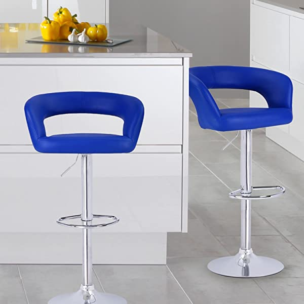 ... Open Back Leatherette Bar Stools   Set Of 2 (Blue) Is Designed With  Elegance And Style In Mind. Sleek And Smooth Silhouette, Polished Chrome  Base, ...