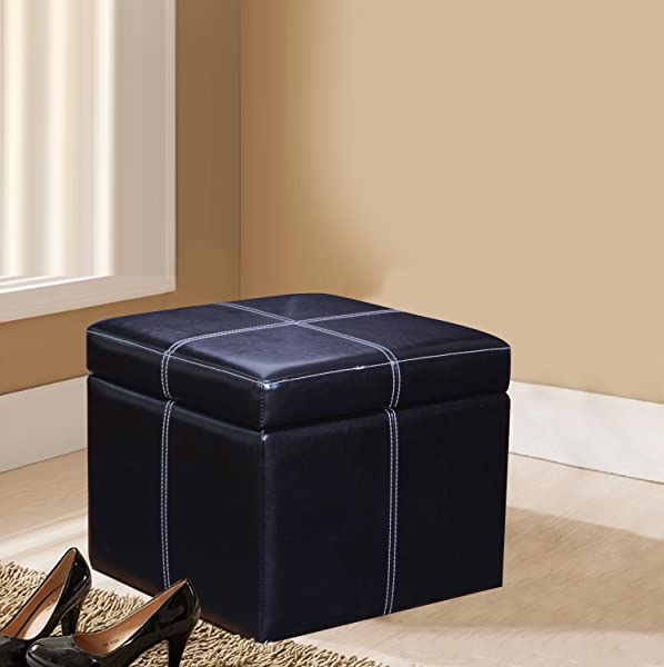 joveco bonded leather cross stitch square cube storage ottoman black - Storage Ottoman Cube