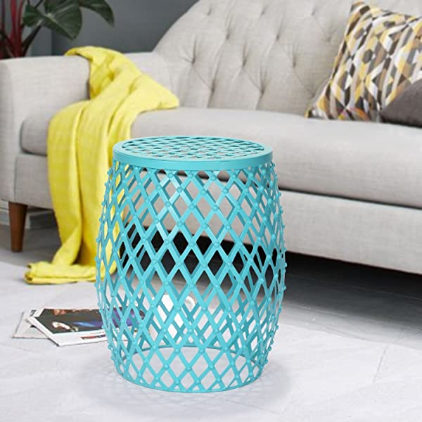 Amazon Com Joveco Stylish Metal Drum Wire Round End Table