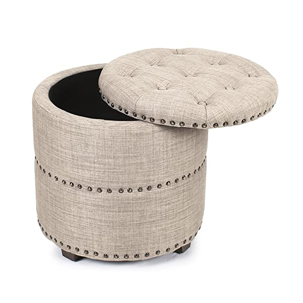 Pleasing Joveco Storage Ottoman Nailhead Button Tufted Fabric Bench Beige Alphanode Cool Chair Designs And Ideas Alphanodeonline