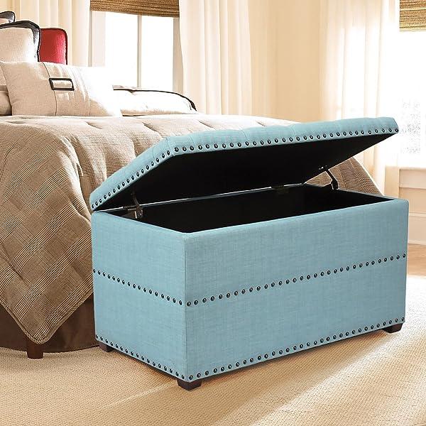 Swell Joveco Blue Modern Bottom Tufted Rectangular Nailhead Trim Fabric Storage Ottoman Bench Alphanode Cool Chair Designs And Ideas Alphanodeonline