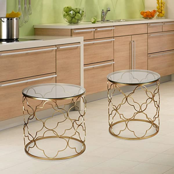 Amazon.com: Joveco Gold End Table With Glass Top In