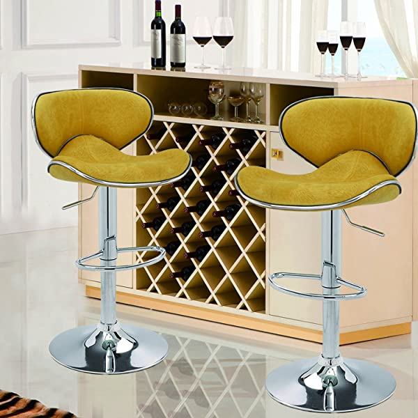 ... Saddleback Design Bar Stool   Set Of 2 (Yellow Velvet) Are Designed  With Elegance And Style In Mind. Sleek And Smooth Silhouette, Polished Chrome  Base, ...
