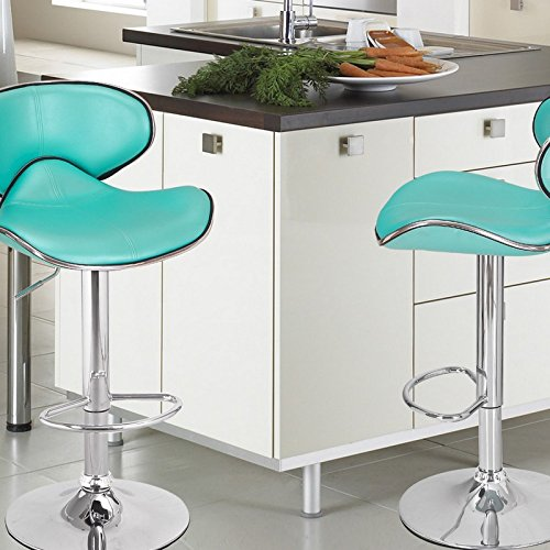 ... Saddleback Design Bar Stool   Set Of 2 ( Aqua Blue) Are Designed With  Elegance And Style In Mind. Sleek And Smooth Silhouette, Polished Chrome  Base, ...