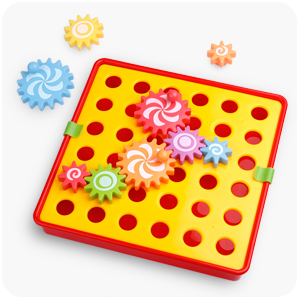 D-FantiX Spinning Gear Puzzle Board Set with 12 Pictures Peg Puzzles Cog Gear Toys for Toddlers Kids Educational Preschool Learning Toys AM-TG566