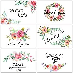 D FantiX 4x6 Thank You Cards Floral 12 Design Notes Bulk Blank Inside