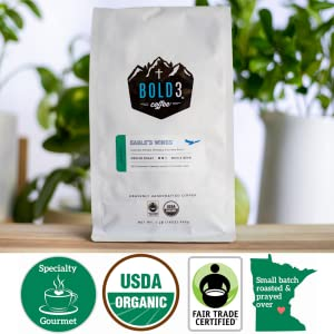 BOLD3 Coffee bag - green- wooden table - white background - Organic/Fair Trade/Specialty/MN Roasted