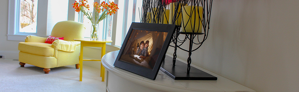 Slideshow Feature Instantly Sharing Memories 8GB Internal Storage Worldwide Connectivity. RCA 10 Wi-Fi Digital Photo Frame Touch Screen