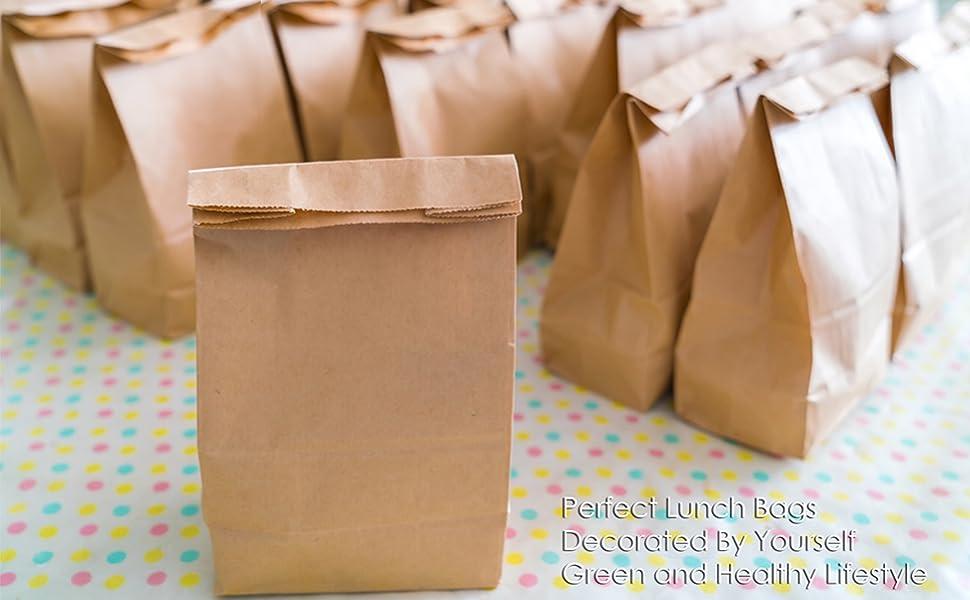 Bolsa de Almacenamiento ARTESTAR 100 Bolsas de Papel Kraft marr/ón Bolsa de Regalo para Dulces de Pan 8 * 15cm Bolsas de Regalo de Bricolaje de Papel Reciclado para almuerzos de Fiesta