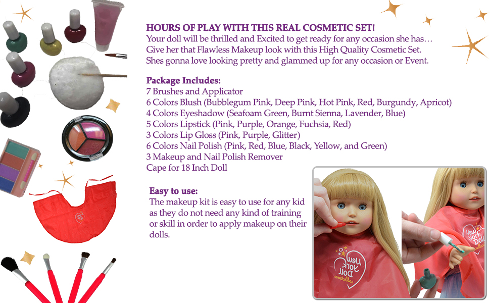 ecfaf8bb11e68 Amazon.com: Washable Makeup set for Dolls and Kids - pretend play ...