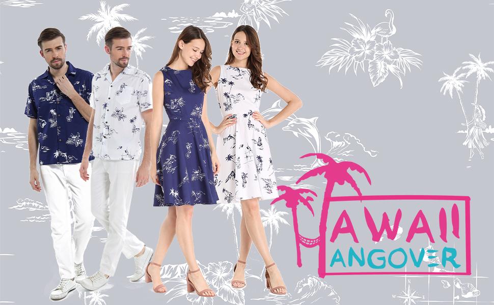 3866a6a4 Couple Matching Hawaiian Luau Cruise Outfit Shirt Vintage Dress ...