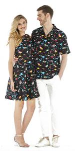 df312ca4 ... Couple Matching Hawaiian Luau Cruise Outfit Shirt Vintage Dress ...