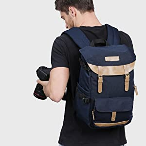 K/&F Concept Multi-Functional Camera Backpack 600D Polyester Waterproof Photography Equipment Travel Bag for Tripod DSLR Camera and Accessory with Rain Cover