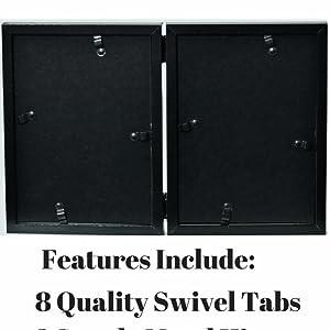 black folding dual picture frame for table tabletop shelf desk dresser bathroom kitchen family room