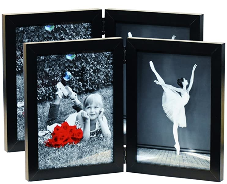 Amazon 2 Pack 5x7 Inch Hinged Dual Picture Wood Photo Frames