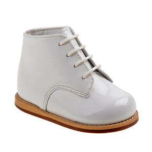 white, patent leather, real, genuine, lace up, easy on, wide, medium, stretch, flat, arch support